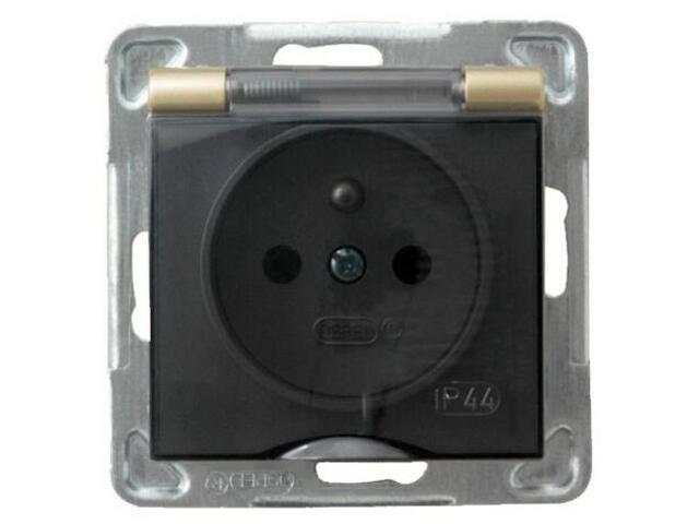 Gniazdo ścienne modułowe IMPRESJA z/u schuko IP-44 złoty metalik Ospel
