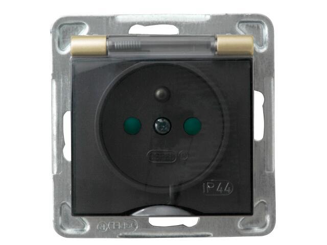Gniazdo ścienne modułowe IMPRESJA z/u schuko IP-44 z przesłonami złoty metalik Ospel