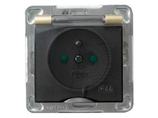 Gniazdo ścienne modułowe IMPRESJA z/u IP-44 z przesłonami złoty metalik Ospel