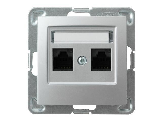 Gniazdo modułowe IMPRESJA komp. podwójne kat.6 KRONE ekranowane srebro Ospel