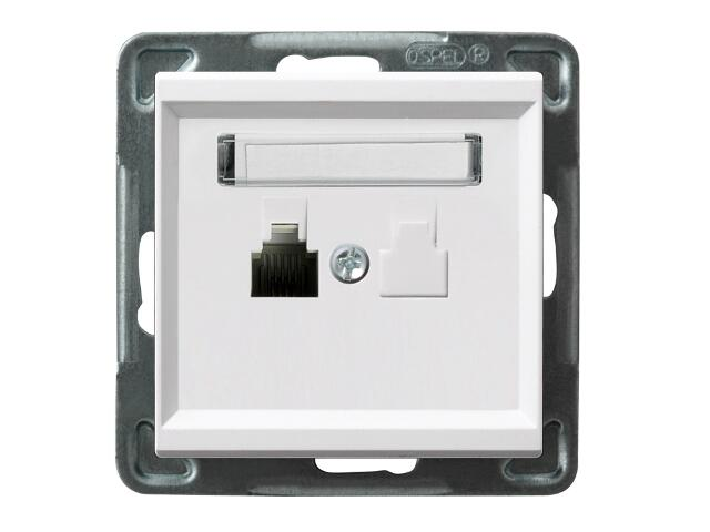 Gniazdo modułowe SONATA telefoniczne pojedyncze biały Ospel