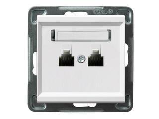 Gniazdo modułowe SONATA telefoniczne podwójne niezależne biały Ospel