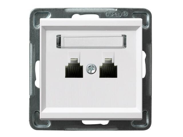 Gniazdo modułowe SONATA telefoniczne podwójne równoległe biały Ospel