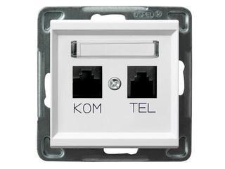 Gniazdo modułowe SONATA komputerowo - telefoniczne KRONE biały Ospel