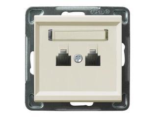 Gniazdo modułowe SONATA telefoniczne podwójne równolegle ecru Ospel