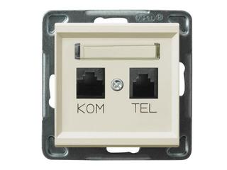 Gniazdo modułowe SONATA komputerowo - telefoniczne KRONE ecru Ospel