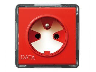 Gniazdo ścienne modułowe SONATA pojedyncze z/u DATA z kluczem uprawniającym ecru Ospel