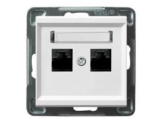 Gniazdo modułowe SONATA komp. podwójne kat. 6 ekranowane KRONE biały Ospel