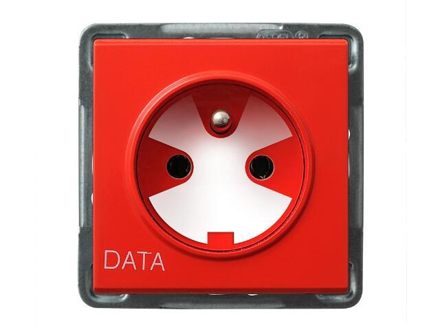 Gniazdo ścienne modułowe SONATA pojedyncze z/u DATA z kluczem uprawniającym biały Ospel