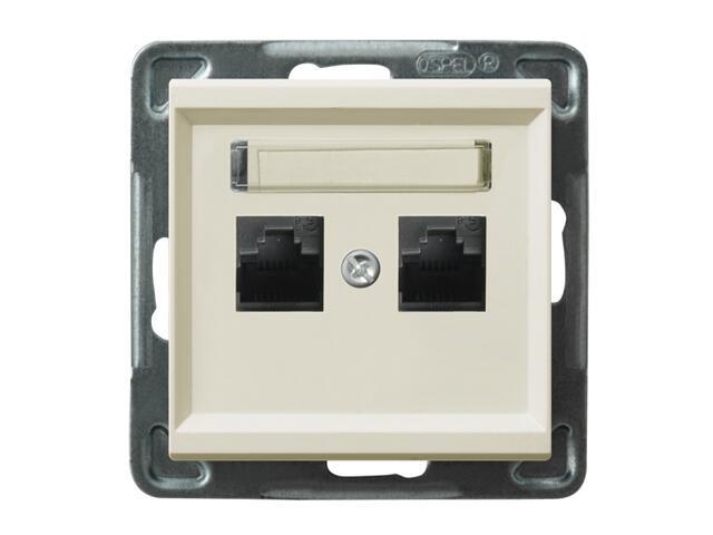 Gniazdo modułowe SONATA komp. podwójne kat. 6 ekranowane KRONE ecru Ospel