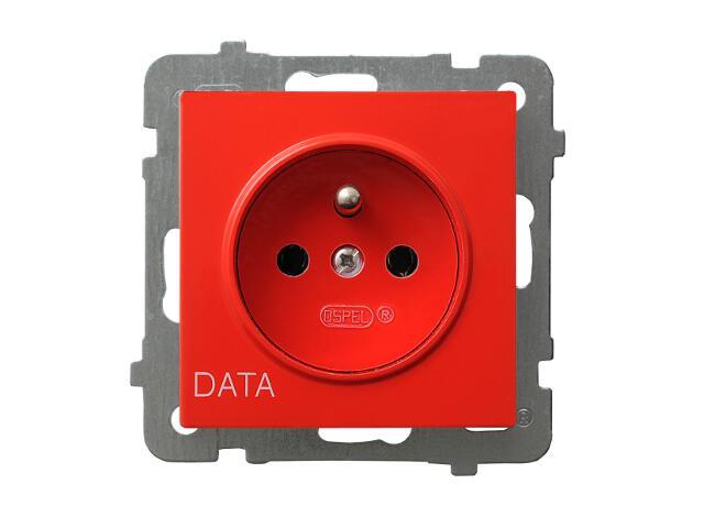 Gniazdo ścienne modułowe AS pojedyncze z/u DATA czerwony Ospel