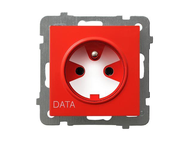 Gniazdo ścienne modułowe AS pojedyncze z/u DATA z kluczem uprawniającym czerwony Ospel