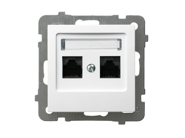 Gniazdo modułowe AS komputerowe podwójne kat. 6a ekranowane FMT biały Ospel