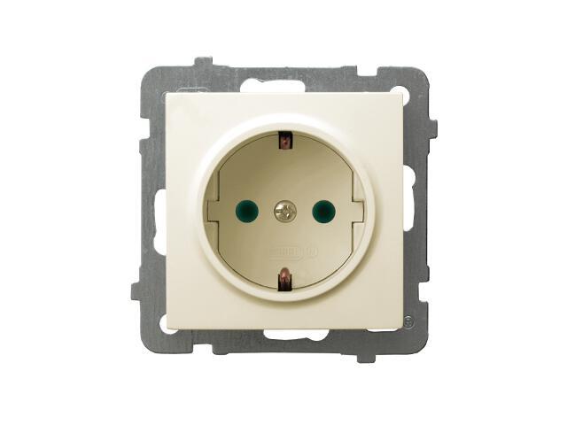 Gniazdo ścienne modułowe AS pojedyncze z/u schuko z przesłonami torów prądowych ecru Ospel