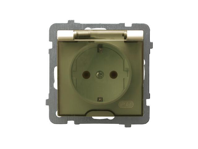Gniazdo ścienne modułowe AS pojedyncze z/u schuko IP-44 wieczko przezroczyste ecru Ospel