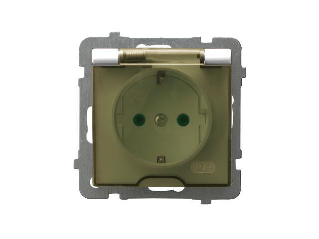 Gniazdo ścienne modułowe AS pojedyncze z/u schuko IP-44 z przesłonami ecru Ospel