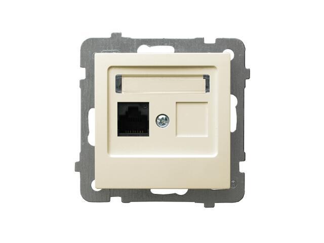 Gniazdo modułowe AS komputerowe pojedyncze kat. 6a ekranowane FMT ecru Ospel