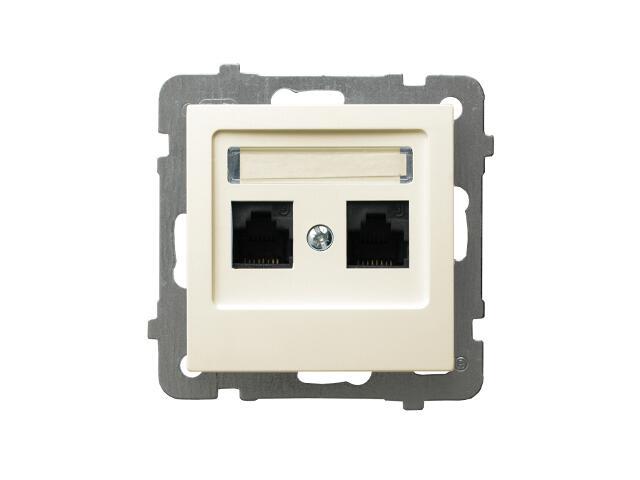 Gniazdo modułowe AS komputerowe podwójne kat. 6a ekranowane FMT ecru Ospel