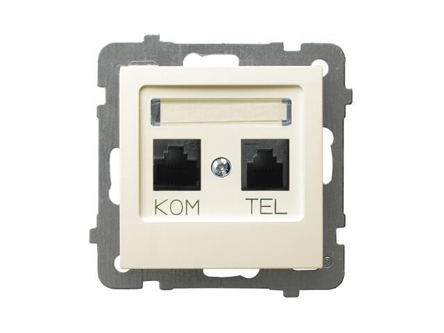 Gniazdo modułowe AS komputerowo-telefoniczne GPKT-G/F/m/27 FOREX ecru Ospel