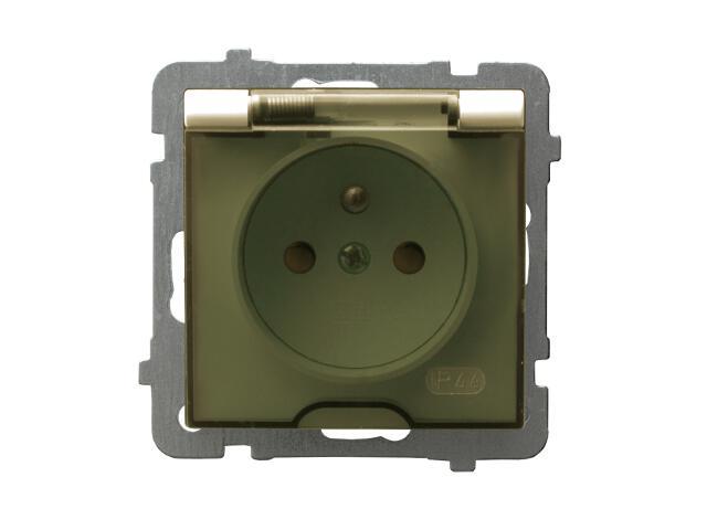 Gniazdo ścienne modułowe AS pojedyncze z/u IP-44 z przesłonami wieczko przezroczyste ecru Ospel