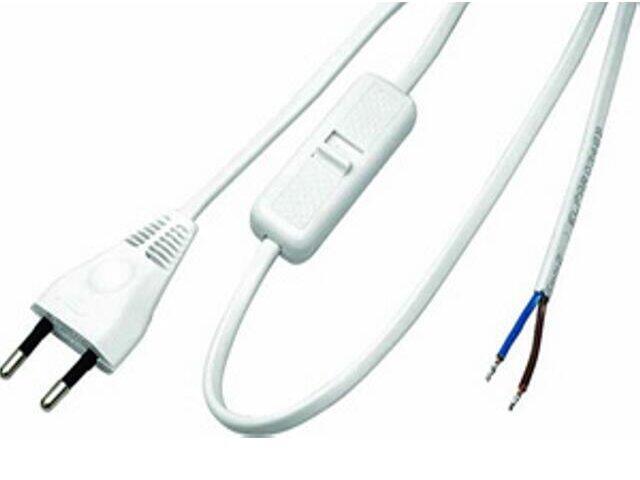 Przewód przyłączeniowy OMYp 2x0,75 3,1m z wyłącznikiem, biała Polmark