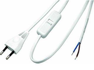 Przewód przyłączeniowy OMYp 2x0,75 1,6m z wyłącznikiem, biała Polmark