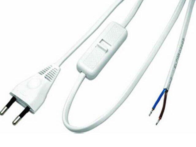 Przewód przyłączeniowy OMYp 2x0,75 1,9m z wyłącznikiem, biała Polmark