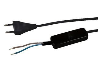 Przewód przyłączeniowy OMYp 2x0,75 1,6m z wyłącznikiem, czarna Polmark