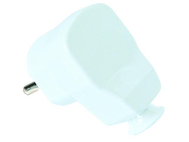 Wtyczka kablowa jednofazowa kątowa biała z bolcem PCE