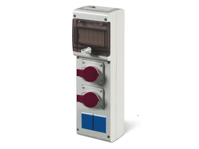 Rozdzielnia wyposażona BLOCK4 1x32A 3P+N+E, 1x16A 3P+N+E, 2x230V, 6DIN Scame