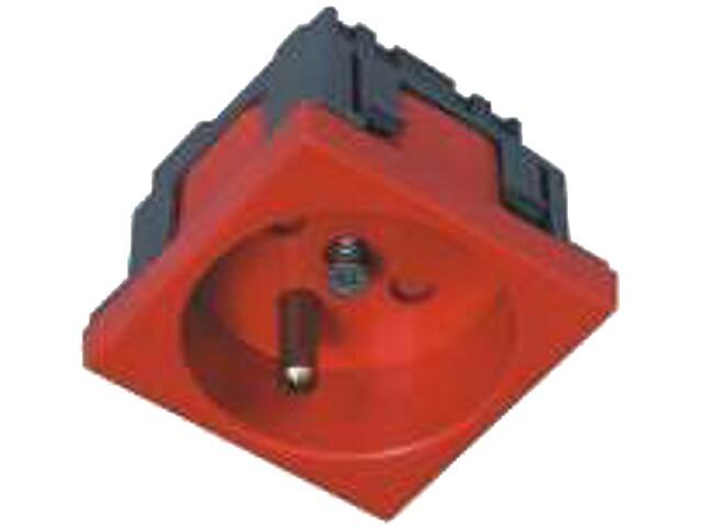 Gniazdo do kanałów kablowych 1C - 2P+Z z blokadą czerwony AKS Zielonka