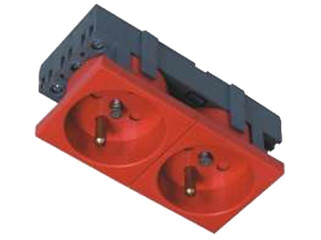Gniazdo do kanałów kablowych 2C - 2x2P+Z z blokadą podwójne czerwony AKS Zielonka