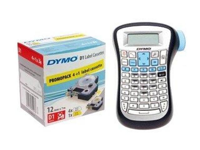 Komplet 5 taśm D1-12mm/7m czarno/biały+drukarka LM-120P PROMOCJA Dymo