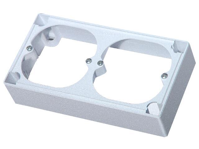Puszka instalacyjna EFEKT METALIC naścienna podwójna IP20 srebro Ospel