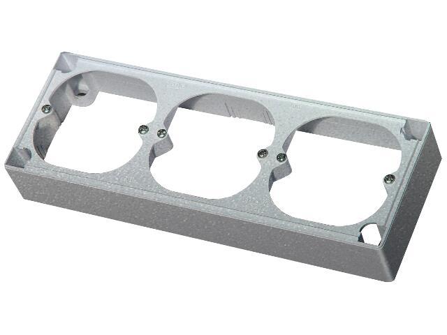 Puszka instalacyjna EFEKT METALIC naścienna potrójna IP20 srebro Ospel