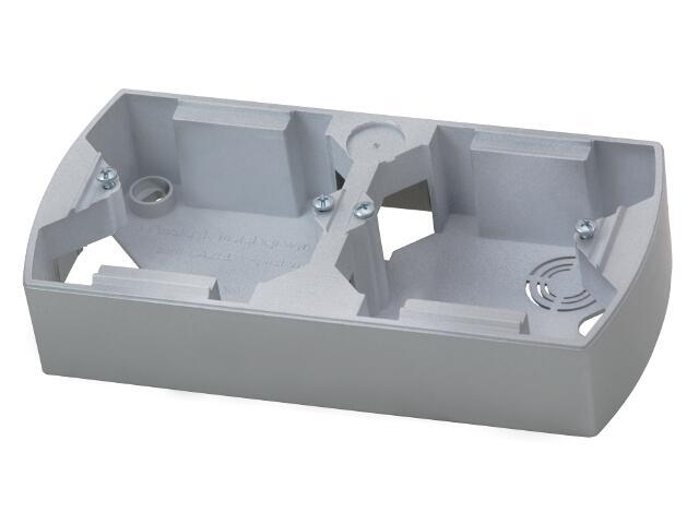 Puszka instalacyjna GAZELA METALIC podwójna pozioma srebro Ospel