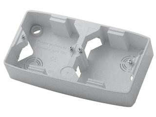 Puszka instalacyjna TON METALIC podwójna pozioma srebro Ospel