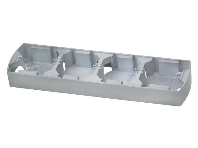 Puszka instalacyjna GAZELA METALIC poczwórna pozioma srebro Ospel