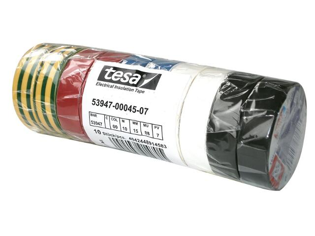 Taśma elektroinstalacyjna 15mmx10m zestaw 10szt. Multikolor Tesa Tape