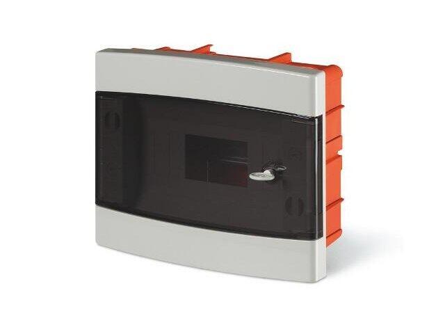 Rozdzielnia DOMINO IP40, podtynk, z zaciskami, 8 mod., dymne drzwiczki Scame