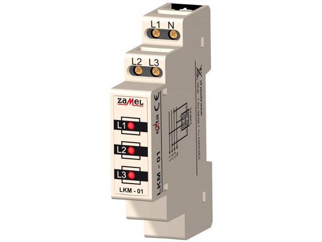 Kontrolka sygnalizacyjna zasilania 230V/400V 3xLED czerwone TN typ: LKM-01-10 Zamel