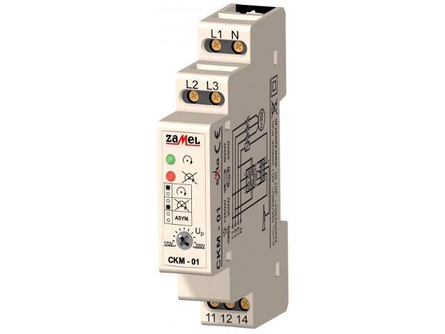Czujnik kolejności i zaniku faz 230V/400V typ: CKM-01 Zamel