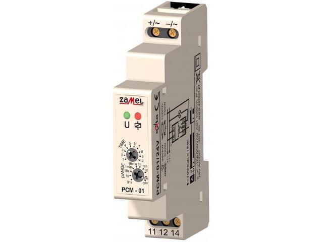 Przekaźnik czasowy opóźnione załączenie 24V AC/DC typ: PCM-01/24V Zamel