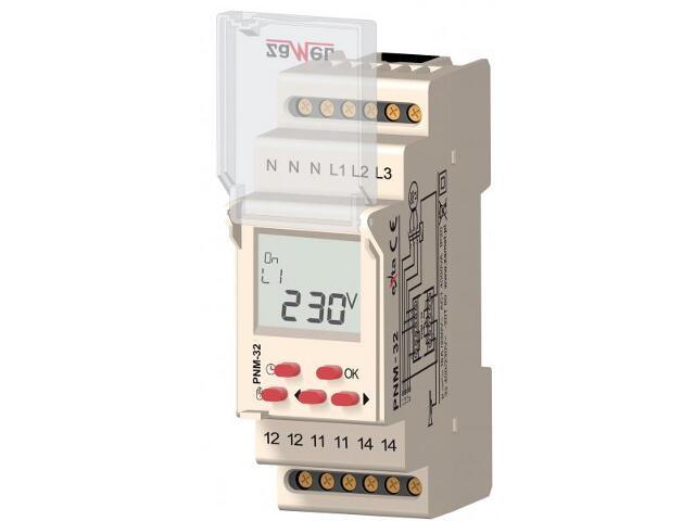 Przekaźnik instalacyjny napięcia 3-fazowy LCD 230/400V typ: PNM-32 Zamel
