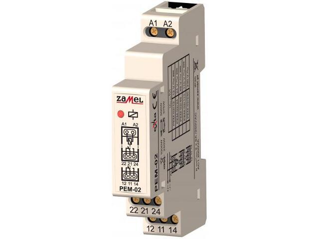 Przekaźnik instalacyjny elektromagnetyczny 1-modułowy 48V AC/DC 2X8A typ: PEM-02/048 Zamel