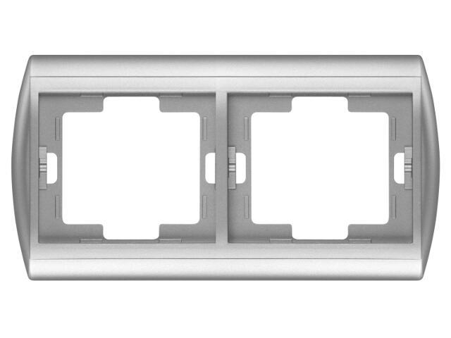 Ramka NOVA podwójna pozioma RA-2N srebrny Abex
