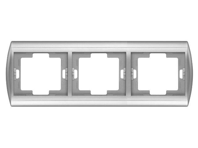 Ramka NOVA potrójna pozioma RA-3N srebrny Abex
