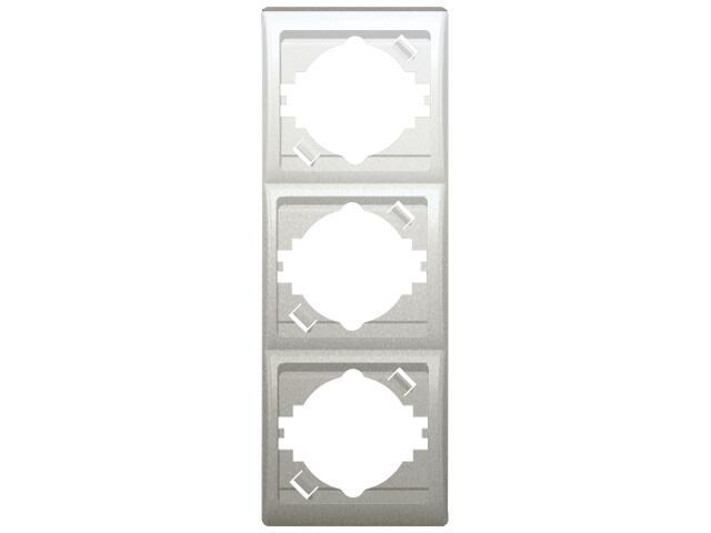Ramka EFEKT METALIC potrójna pionowa srebro Ospel