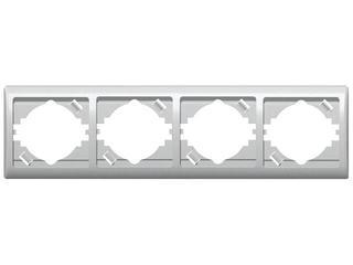 Ramka EFEKT METALIC poczwórna pozioma srebro Ospel