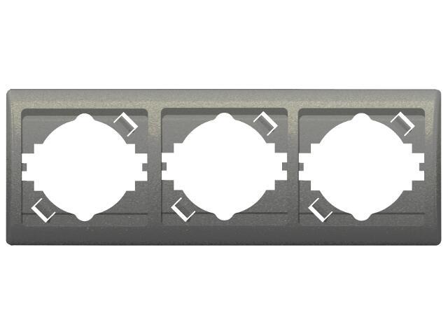 Ramka EFEKT METALIC potrójna pozioma grafit Ospel
